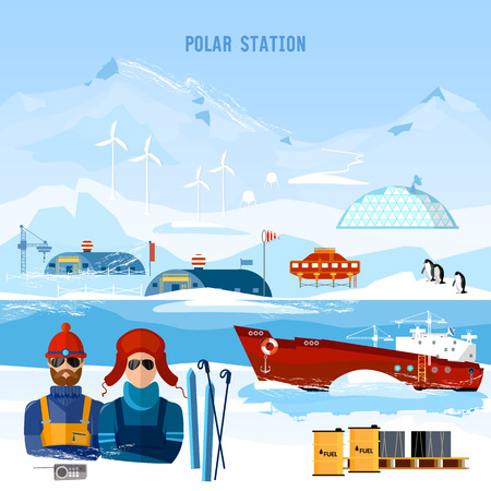Travel to Antarctica concept. Scientific station on North Pole. Fauna of Antarctic, polar bear, penguins. Ice breaker and polar explorers. Arctic and Antarctic tourism. Illustration