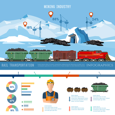Production and transportation of coal. The coal mine, the train with coal infographic