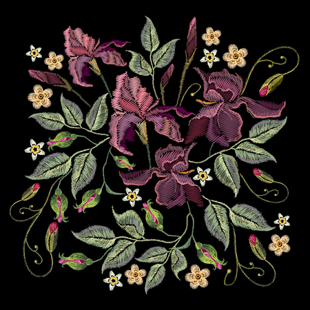 Beautiful spring purple irises against black background, embroidery template. Embroidery irises Vectores