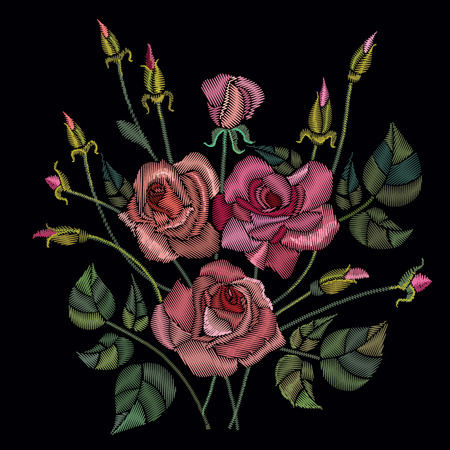 Classic style embroidery, beautiful roses flowers pattern vector. Roses embroidery on a black background Illustration