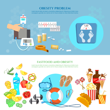 Obesity problem banner unhealthy eating diet sports and gymnastics overweight vector