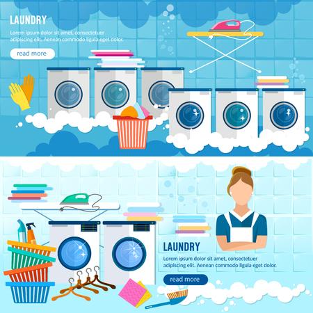 세탁 서비스 배너, 옷 세탁 시설, 세탁 직원 세탁기 벡터