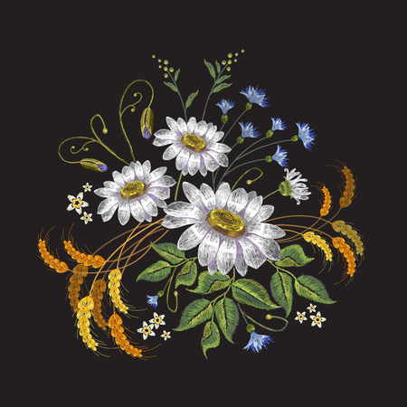 Camomiles embroidery. Beautiful bouquet of chamomiles, classic embroidery pattern for clothes vector