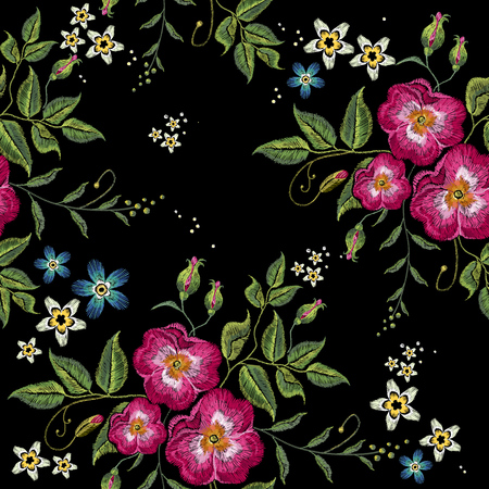 Wild roses embroidery seamless pattern on a black background. Stock Illustratie