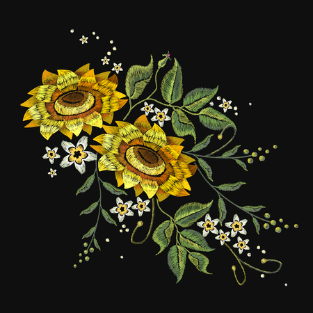 Embroidery sunflowers, flowers vector. Beautiful bouquet sunflowers embroidery template for clothes Illustration