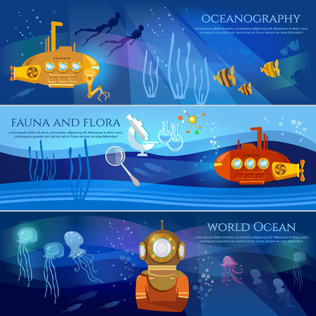 Scientific research of sea and ocean yellow submarine underwater with periscope divers. Oceanography.