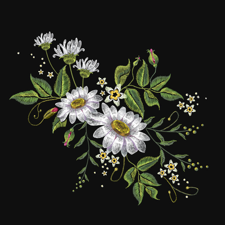 Camomiles embroidery vector. Beautiful white %u0441amomiles, spring flowers on black background.