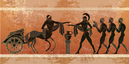 Ancient Greece scene. Black figure pottery. Ancient Greek mythology.