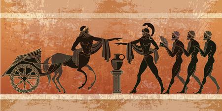 Oude scène van Griekenland. Zwart figuuraardewerk. Oude Griekse mythologie.