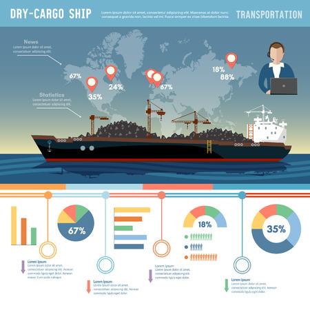 Buque de carga logística y transporte infográfico concepto buque tanque buque transportes arena de carbón