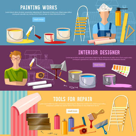 colors paint: House repair. Painter man work with roller banner. Painter paints walls, pastes wall wall-paper.