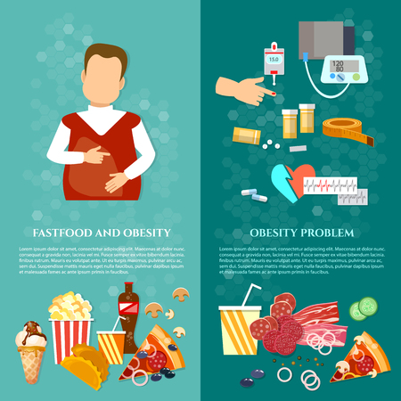 Obesity fat man causes and effects of obesity banner. Bad food concept