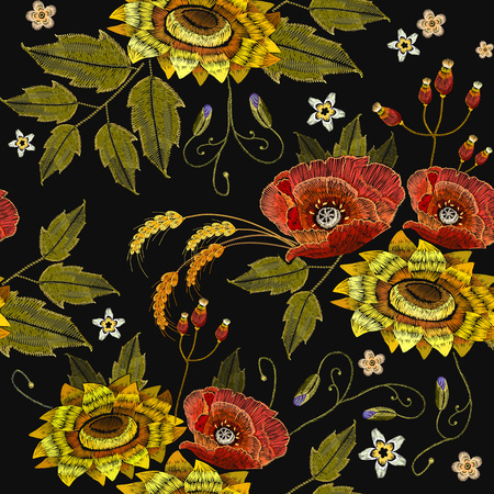 Embroidery rose and sunflowers seamless pattern. Beautiful embroidery blossoming sunflowers and red roses, fashion template for clothes, t-shirt design