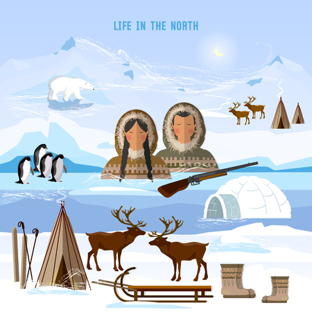 Wild north arctic people in traditional eskimos costume and arctic animals. Life in the far north. Reindeer, polar day and polar night. Extreme journey to Alaska
