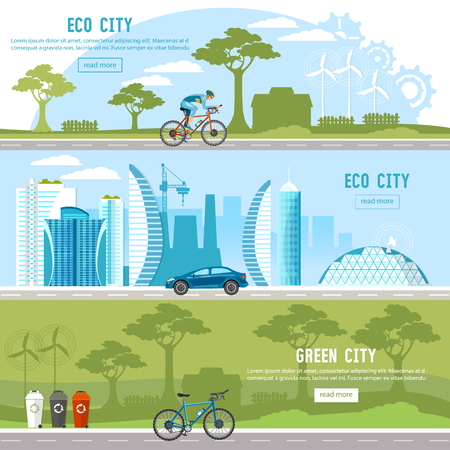 Green city banner. Harmony of city and nature design template Eco city background urban landscape. Future energy, solar panels, windmills
