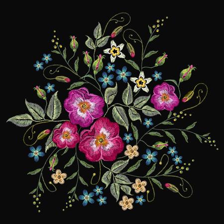 자수 야생 장미, dogrose 꽃 벡터. 클래식 스타일의 자수, 아름다운 패션 템플릿, T 셔츠 디자인