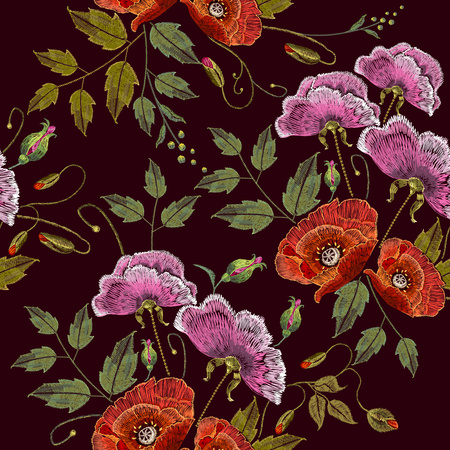 Pink flowers and poppies embroidery seamless pattern. Beautiful bouquet of spring flowers, poppies classic embroidery seamless background for clothes