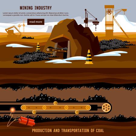 Prozess der Kohlebergbau, Planierraupen, Förderkarikatur. Exkavator arbeitet auf offenen Grube Kohle Mine Banner