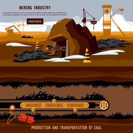 Process of coal mining, bulldozers, conveyor cartoon. Excavator working on open pit coal mine banner