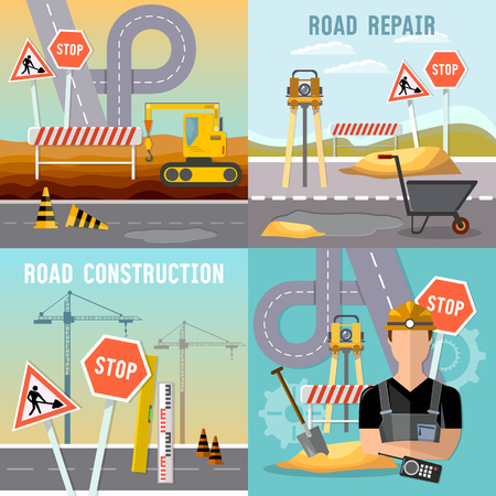 Road construction and road repair set. Repair is expensive in the city. Road works construction and repair elements vector