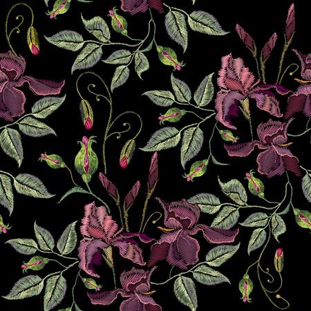 아름 다운 봄 보라색 원활한 패턴, 옷 템플릿 홍채. 자수 손으로 그린 원활한 패턴 벡터 창포