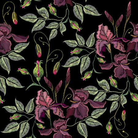 Beautiful spring purple irises seamless pattern, clothes template. Embroidery irises hand drawn seamless pattern vector
