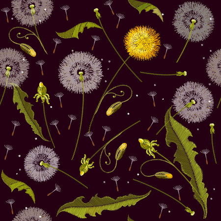 Dandelions embroidery seamless pattern. Beautiful dandelions classical embroidery seamless background, template for clothes and textiles Illustration