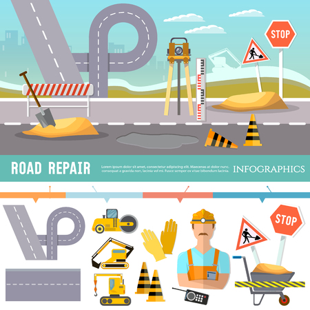 Road construction and road repair infographic. Repair is expensive in the city. Road works construction and repair elements Vectores