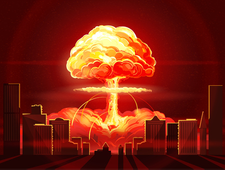 Nuclear explosion. Atomic bomb in the city. Symbol of nuclear war, end of  world,  dangers of nuclear energy Illustration