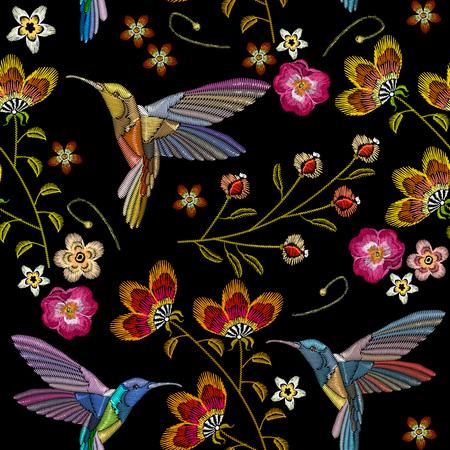 Humming ptak i tropikalne kwiaty wzór haftu. Piękni hummingbirds i egzot kwitniemy kwiaty na czarnym tle. Szablon do ubrania, tekstylia, projekt koszulki Ilustracje wektorowe