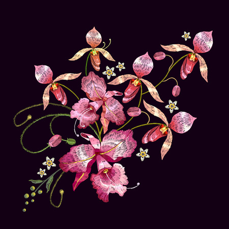 Orchids embroidery. Beautiful tropical orchids flower. Template for clothes, textiles