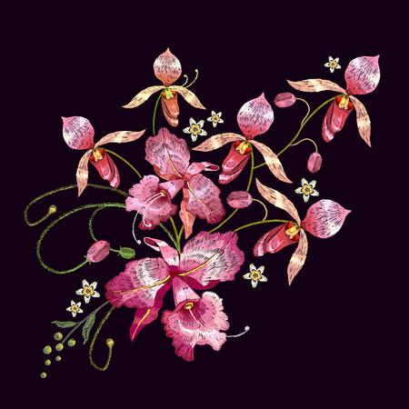 Orchideeën borduurwerk. Mooie tropische orchideeën bloem. Sjabloon voor kleding, textiel Stockfoto - 78064168