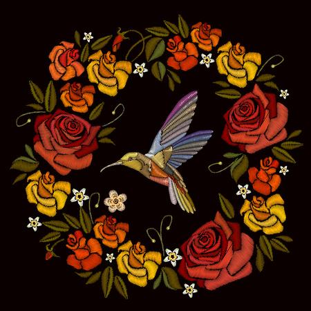 Borduurwerk, mooie bloemenrozen en kolibrie. Decoratieve bloemenborduurwerk elegante bloemenvector. Modieuze sjabloon voor het ontwerp van kleding Stock Illustratie