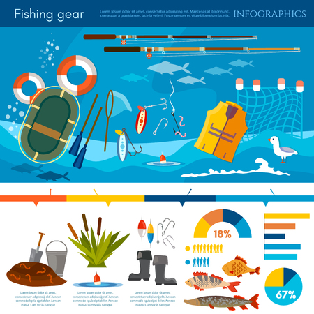 Professional fishing infographic, fishing rod, hooks, bait, fish, worms, fisher equipment vector flat illustration