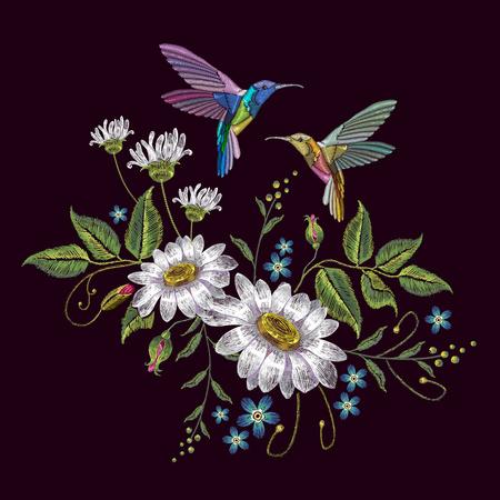 ハミング鳥とカモミールの刺繍。美しいハチドリと黒い背景に白いカモミールの刺繍。服、織物、t シャツのデザイン テンプレート