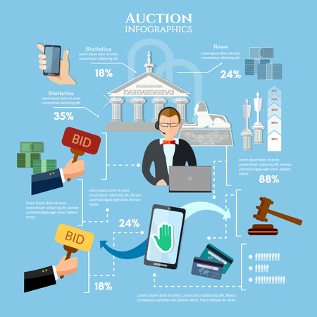 bidding: Auction and bidding infographics, antiques art object culture. Electronic online auction concept vector illustration