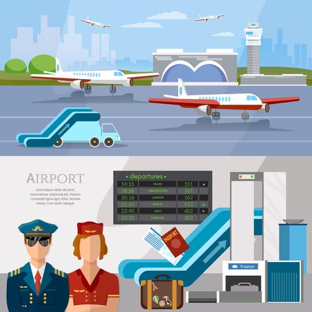 공항 국제선 배너 공항 터미널 항공기 활주로 항공사 조종사 스튜어디스 수하물 검사 스캐너 벡터