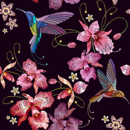 허 밍 조류와 난초 이국적인 열 대 꽃 원활한 패턴. 옷, 자 수, t- 셔츠 디자인을위한 템플릿. 아름다운 고전 자수, 허밍 - 버드, 난초 꽃 일러스트