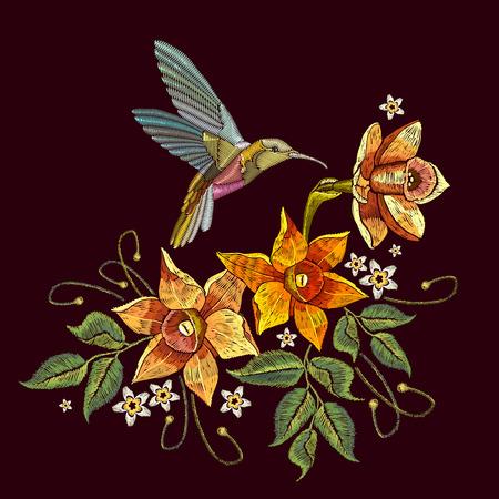 ハミング鳥と水仙の刺繍。美しいハチドリと黒の背景に黄色の水仙刺繍。服、織物、t シャツのデザイン テンプレート
