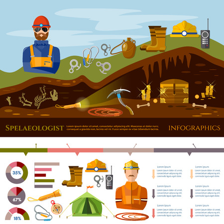 Professional cavers infographic industrial climbing cave exploration, elements of diger, cave explorer. Studying of underground tunnels and mines. Diggers infographic concept