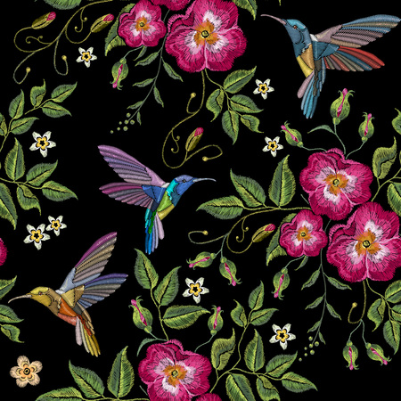 자수 윙윙 거리는 새와 야생 장미, dogrose 꽃 벡터. 클래식 스타일의 자수, 옷을위한 아름다운 패션 템플릿, 티셔츠 디자인 벡터