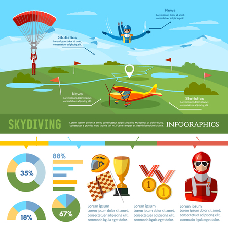 Skydiving teamwork infographic championship on jumps from parachute extreme sport. Skydiver jumps from an airplane vector Illustration