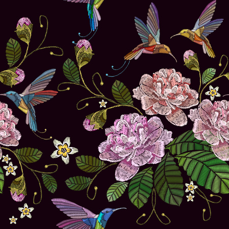 Embroidery peonies and humming bird seamless pattern. Fashionable template for clothes, textiles, t-shirt design. Beautiful peonies flowers and humming bird, classical embroidery pattern