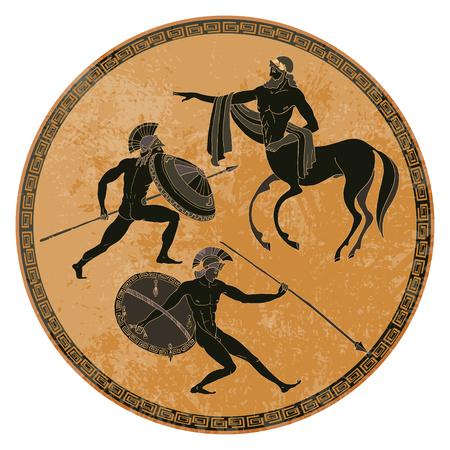 Oude Griekse mythologie set. Oude scène van Griekenland. Zwart figuuraardewerk. Klassieke oude Griekse stijl. Goden, held, mythologie Stockfoto - 79084760
