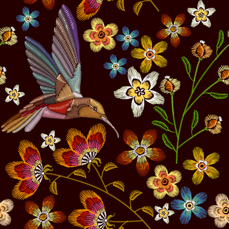 Humming bird and flowers embroidery seamless pattern. Template for clothes, textiles, t-shirt design