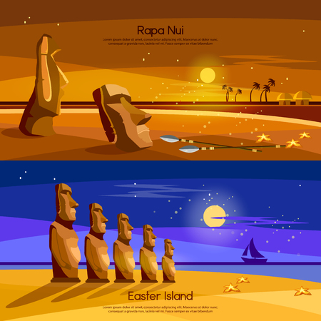 Easter Island banners, Moai statues of Easter island landscape Polynesia. Stone idols.  Tourism and vacation tropical background