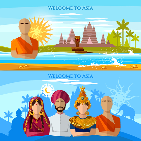 Asia banner. Religion and people of Asia. Hindu, buddhist monk, woman in sari, asian girl in national suit Religions and traditions of Asia and world