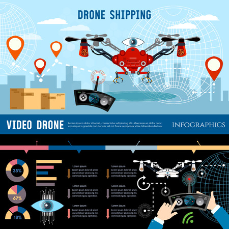 shadowing: Drone for delivery infographic, shadowing and entertainments modern technologies.
