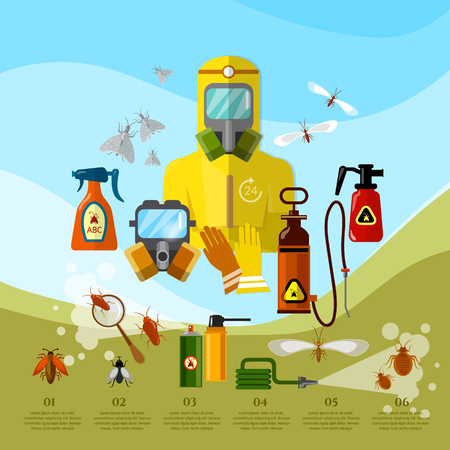 biohazard: Pest control services insects exterminator detecting exterminating insects infographics tempate vector