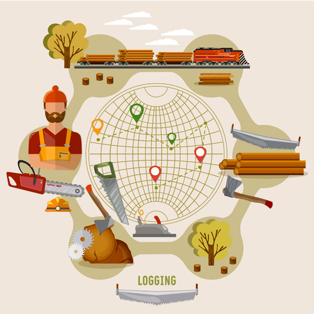 Logging industry concept. Woodcutter, deforestation, preparation of firewood, power-saw bench, transportation of logs by train. Logging industry vector